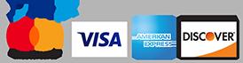 PayPal, Mastercard, Visa, American Express, Discover Logos