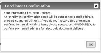 E-Statement Enrollment Confirmation